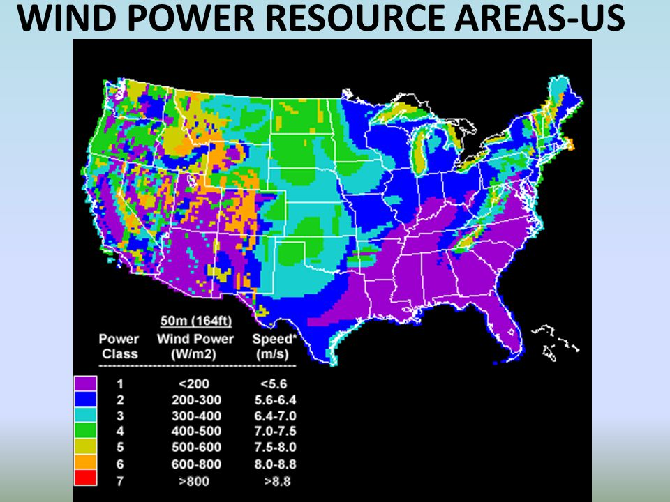WIND POWER RESOURCE AREAS-US