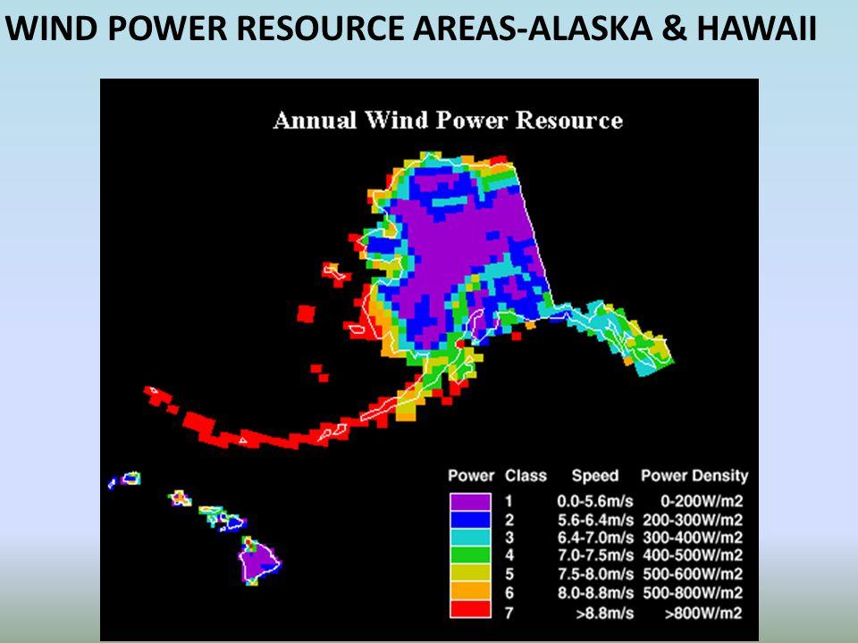 WIND POWER RESOURCE AREAS-ALASKA & HAWAII