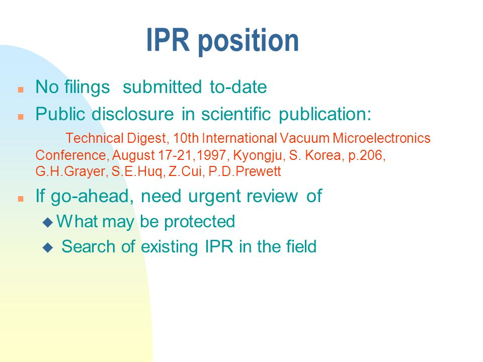 IPR position No filings submitted to-date
