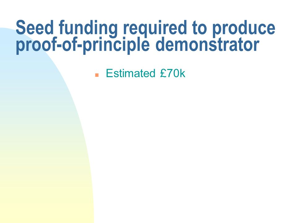 Seed funding required to produce proof-of-principle demonstrator