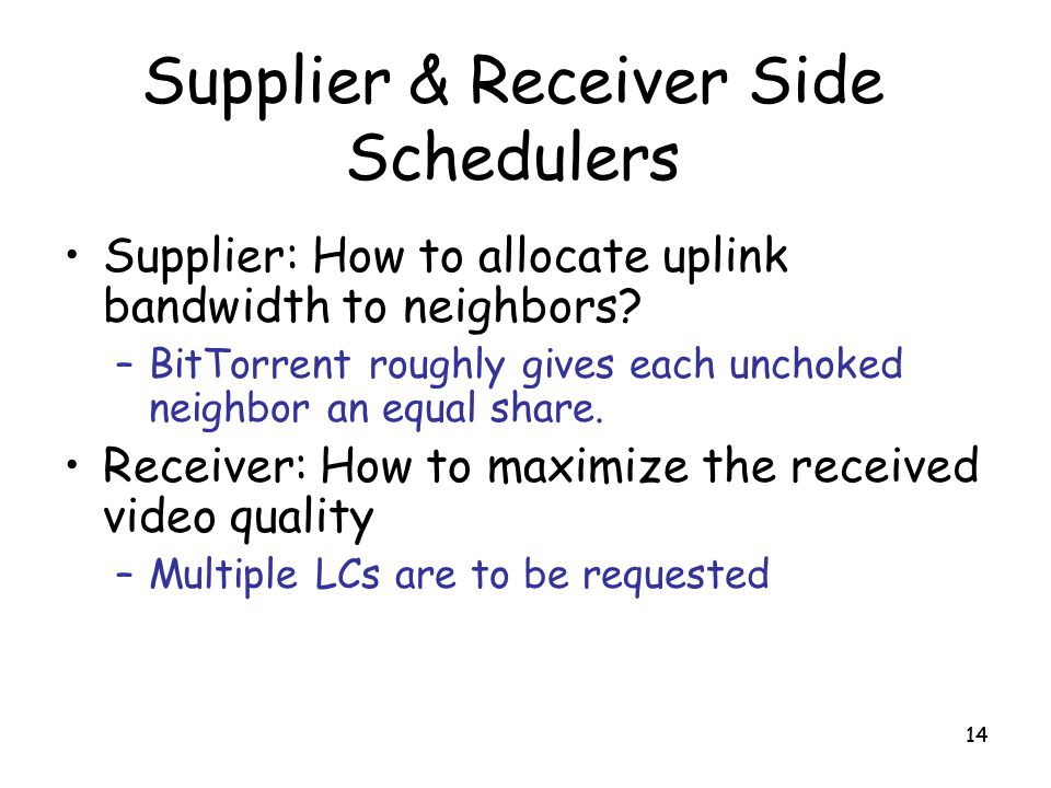 Supplier & Receiver Side Schedulers