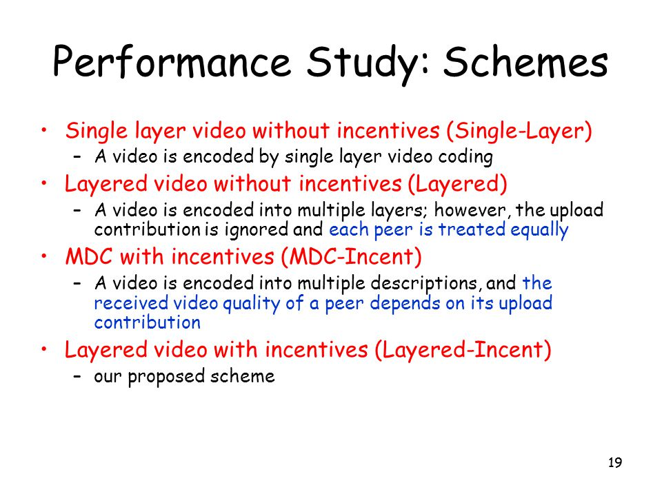 Performance Study: Schemes