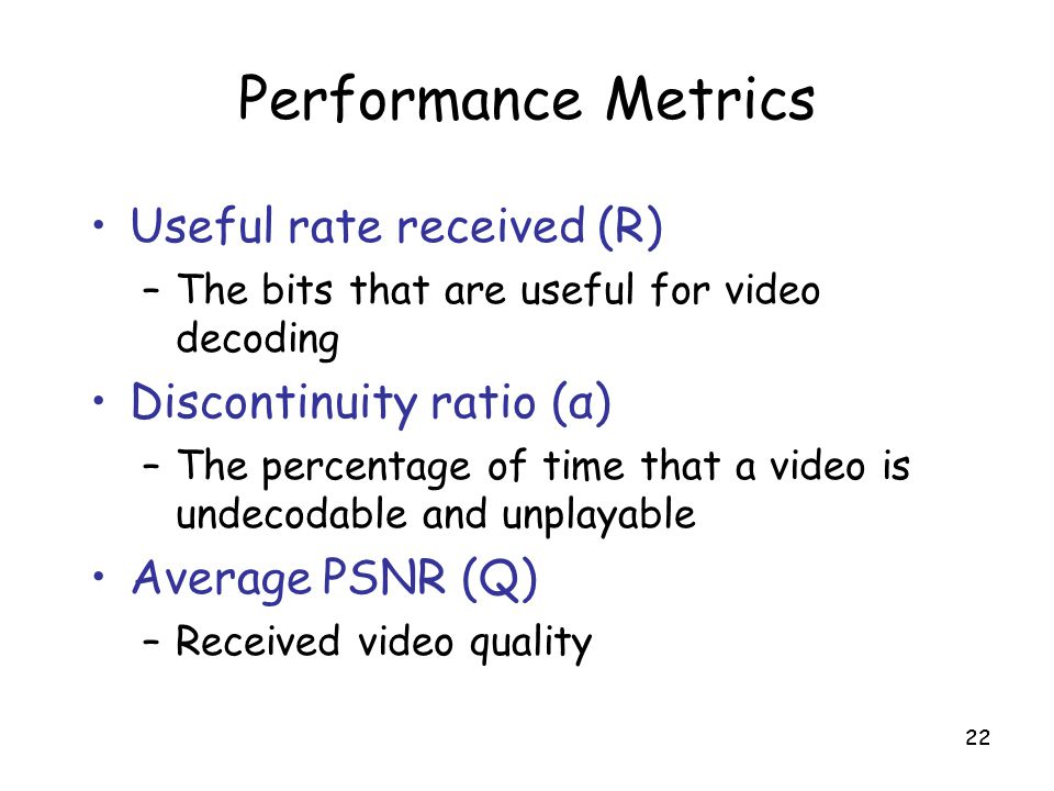 Performance Metrics Useful rate received (R) Discontinuity ratio (α)