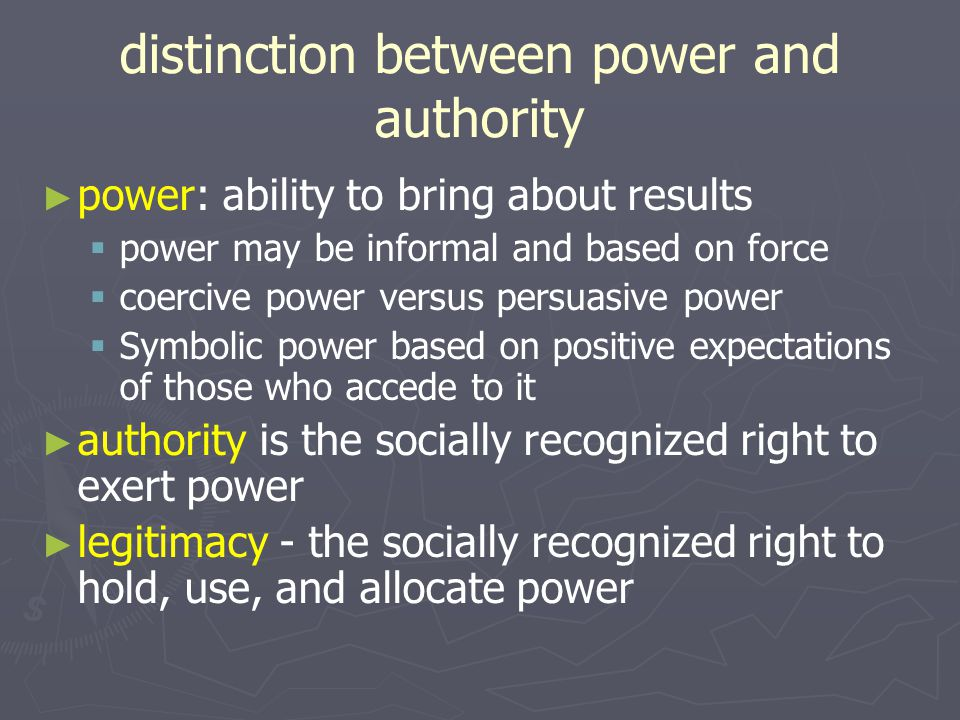 power authority and legitimacy You have printed the following article: distinguishing power, authority & legitimacy: taking max weber at his word by using resources-exchange analysis.