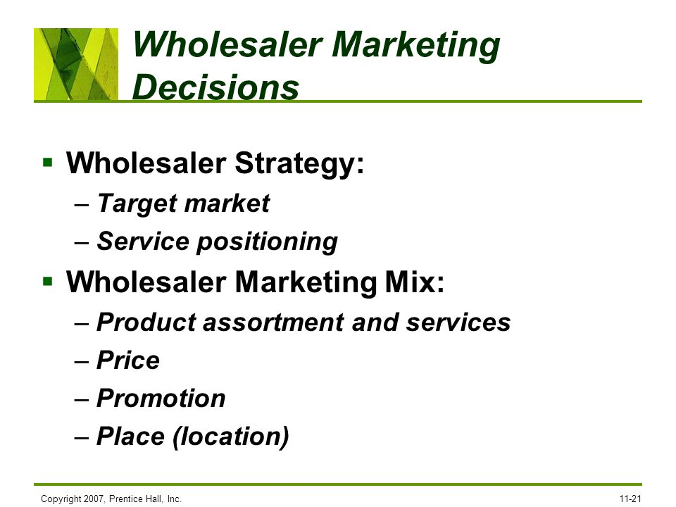 Wholesaler Marketing Decisions