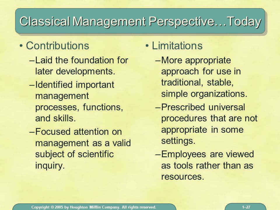 classical management perspective Organizational theory  classical organization theory classical organization theory  while taylor's scientific management theory proved successful in the .