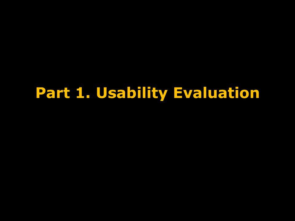Part 1. Usability Evaluation