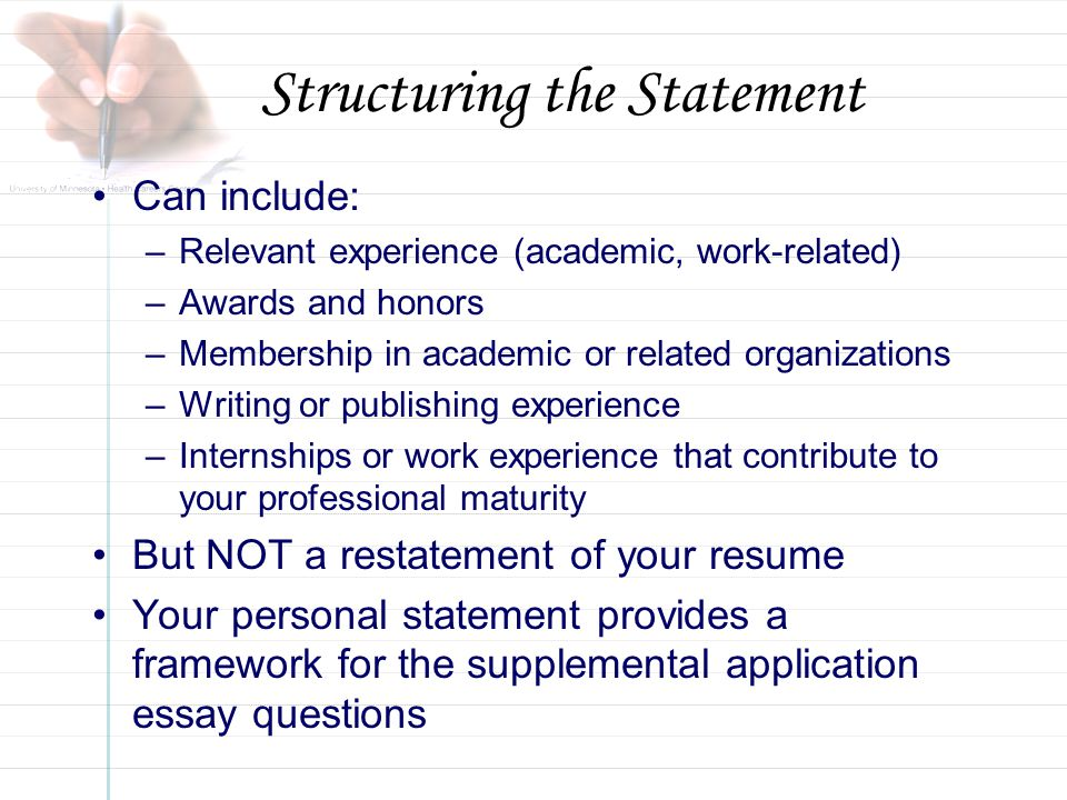 personal statement of experience and supplementary essay Writing effective personal statements and other admissions essays is a process even with our help, brainstorming powerful ideas and tweaking artful each chapter comes with a supplementary worksheet in pdf form, highlighting the most important elements of the curriculum and/or providing.
