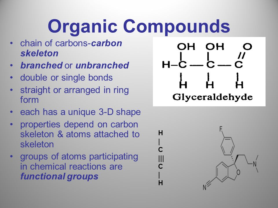 Organic Compounds chain of carbons-carbon skeleton