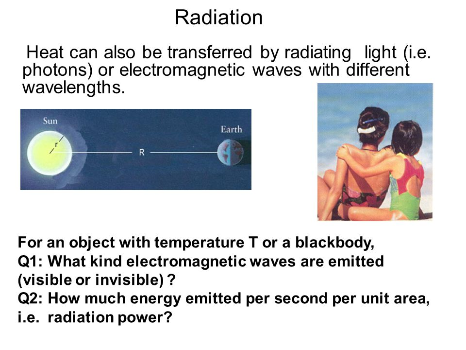 Radiation Heat can also be transferred by radiating light (i.e. photons) or electromagnetic waves with different wavelengths.