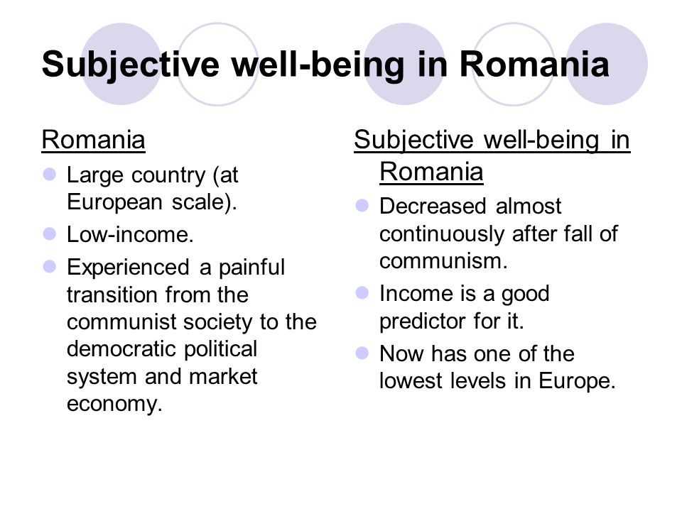 Subjective well-being in Romania