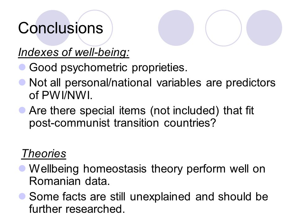 Conclusions Indexes of well-being: Good psychometric proprieties.