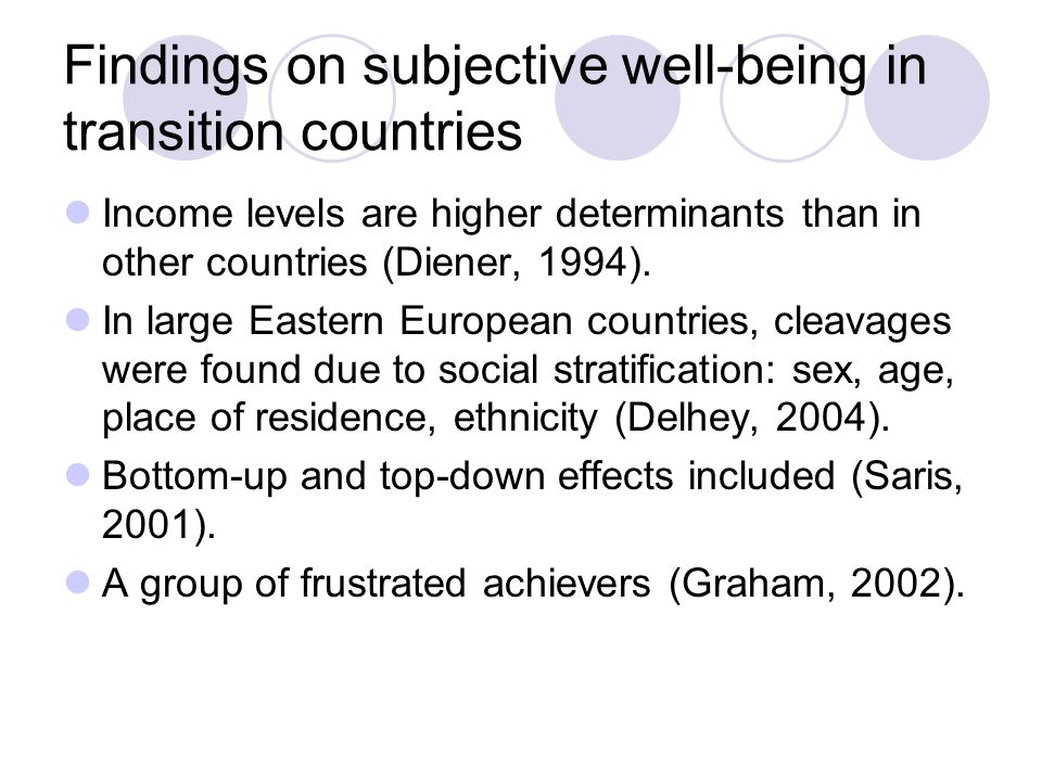 Findings on subjective well-being in transition countries