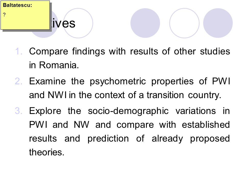 Objectives Compare findings with results of other studies in Romania.