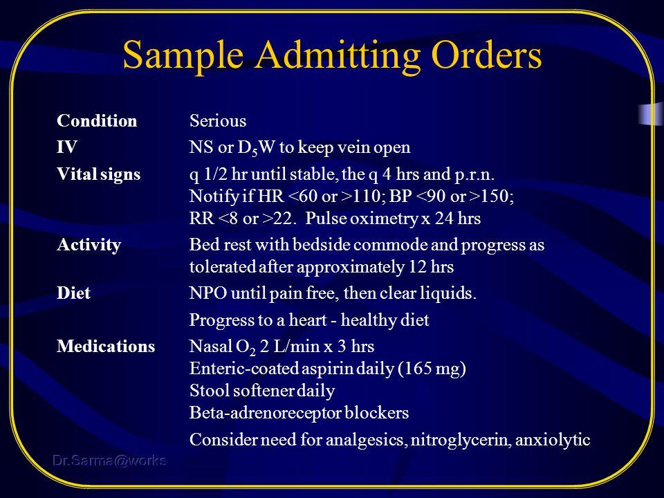 Sample Admitting Orders