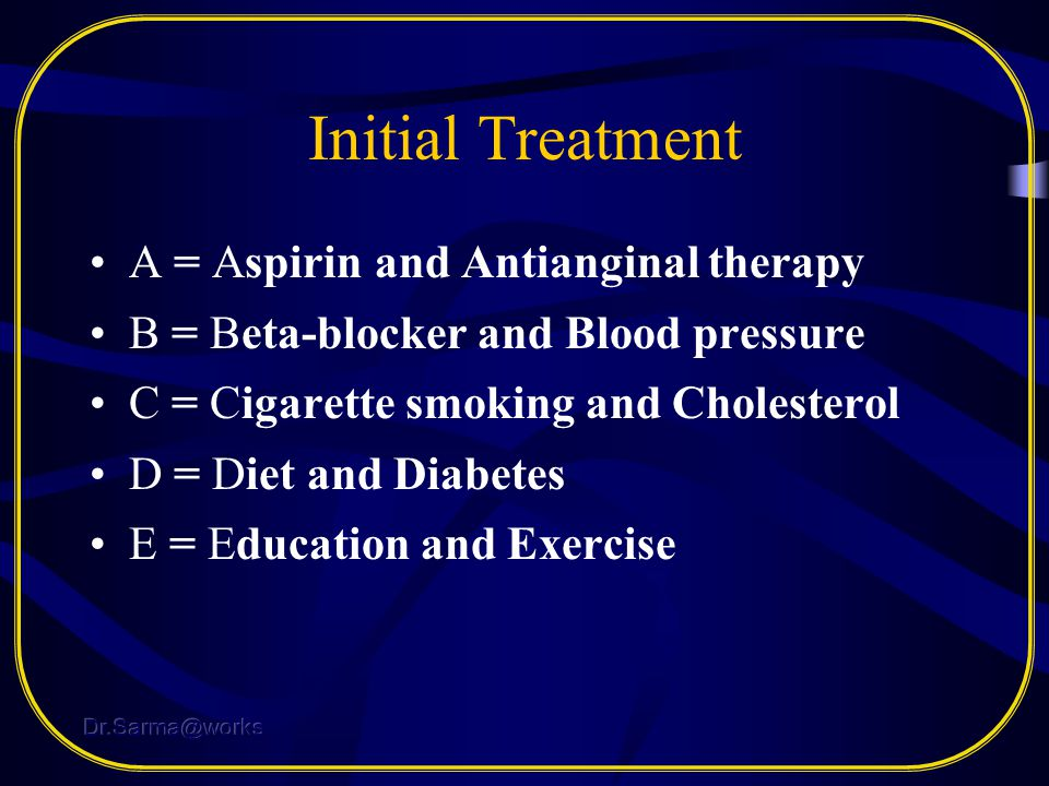 Initial Treatment A = Aspirin and Antianginal therapy