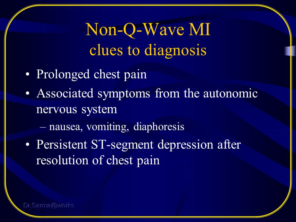Non-Q-Wave MI clues to diagnosis