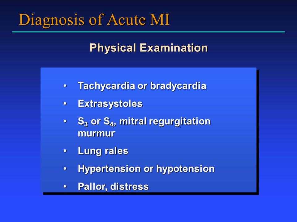 Diagnosis of Acute MI Physical Examination Tachycardia or bradycardia