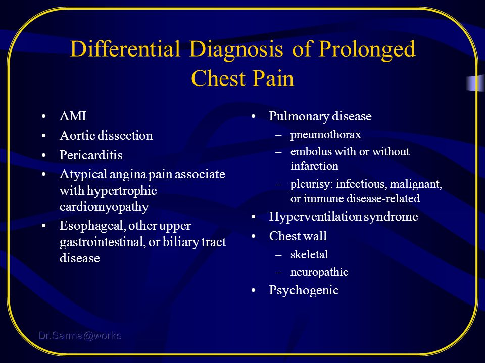 Differential Diagnosis of Prolonged Chest Pain