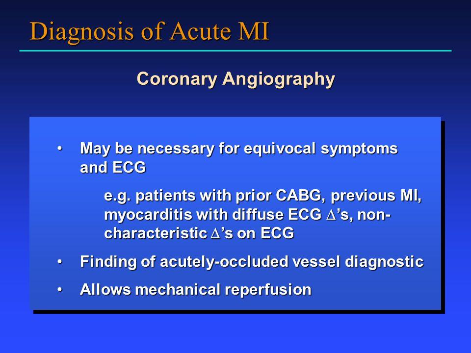 Diagnosis of Acute MI Coronary Angiography