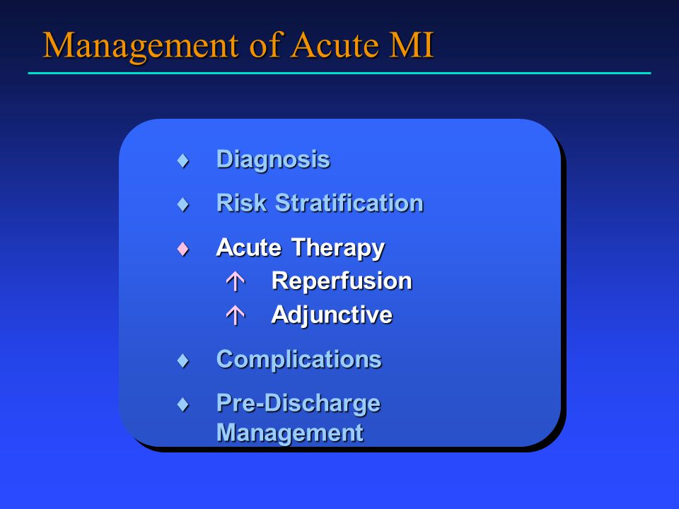 Management of Acute MI Diagnosis Risk Stratification Acute Therapy