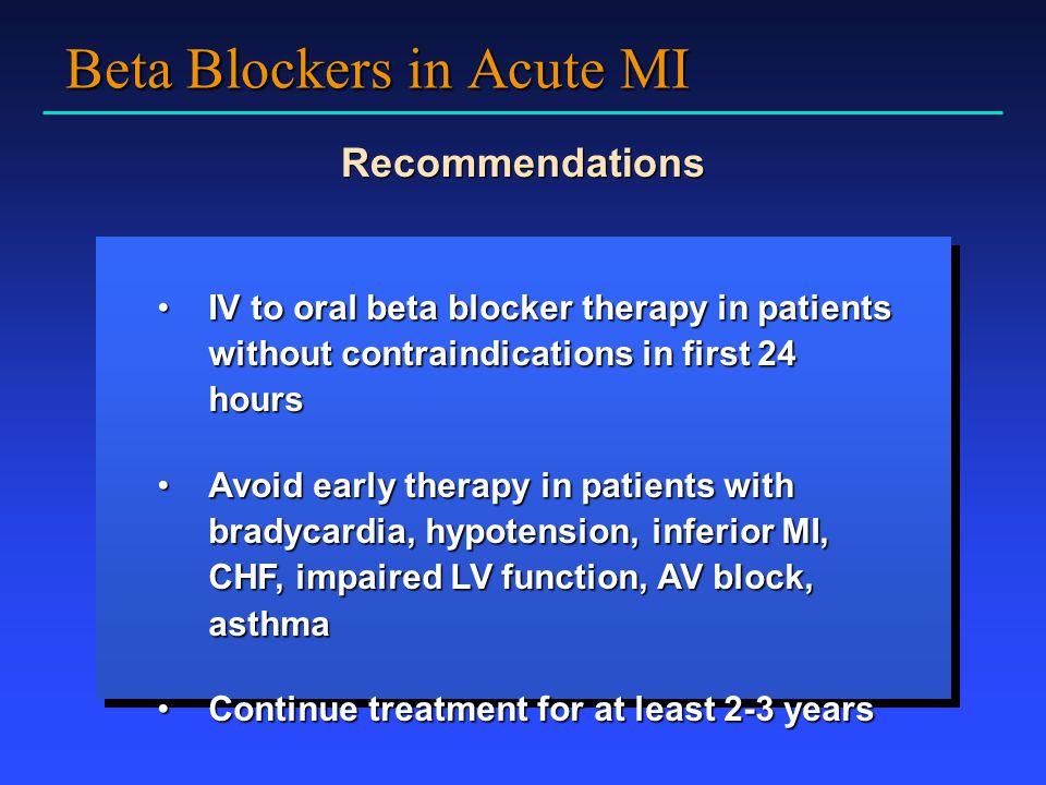 Beta Blockers in Acute MI
