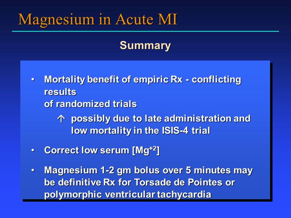 Magnesium in Acute MI Summary