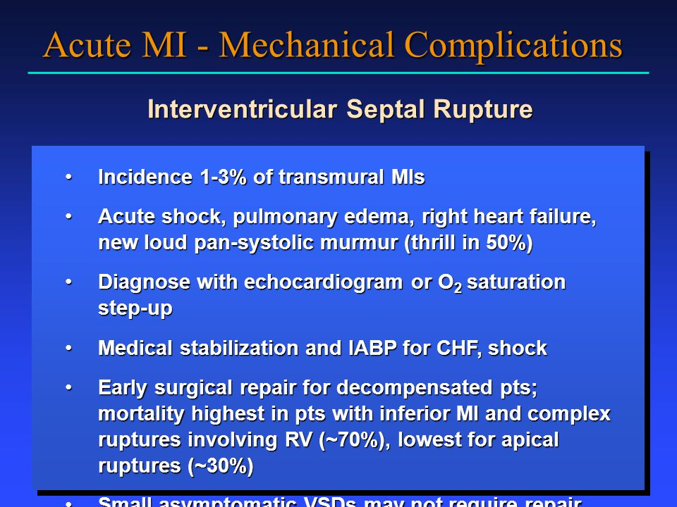 Acute MI - Mechanical Complications