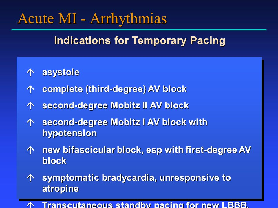 Indications for Temporary Pacing