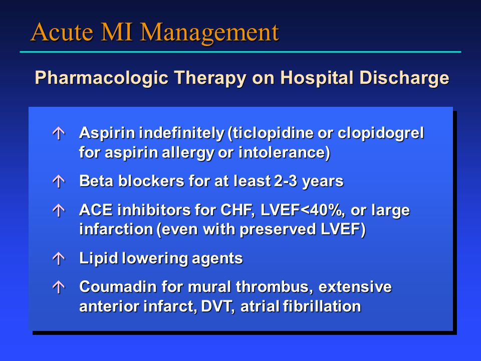 Pharmacologic Therapy on Hospital Discharge