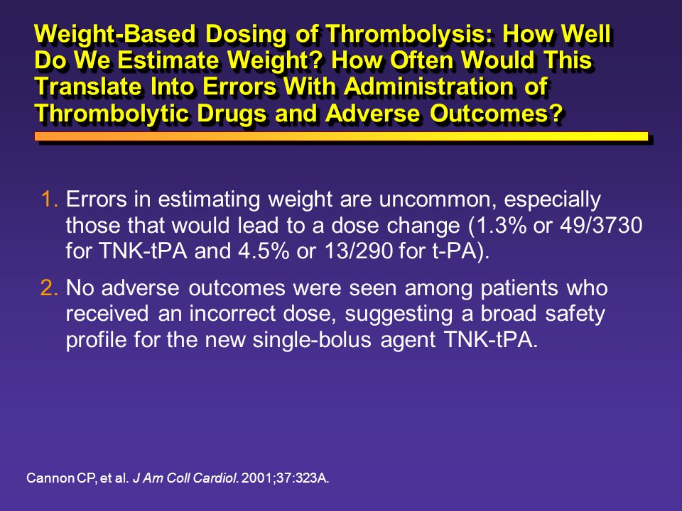 Weight-Based Dosing of Thrombolysis: How Well Do We Estimate Weight