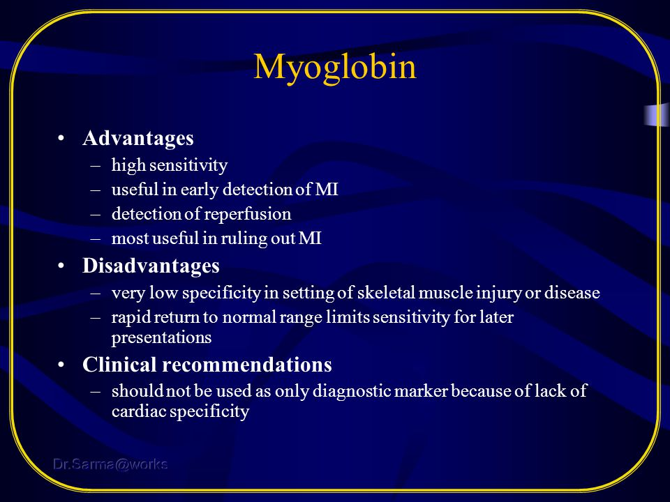 Myoglobin Advantages Disadvantages Clinical recommendations