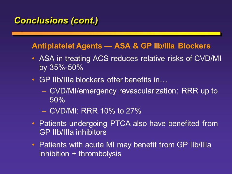 Conclusions (cont.) Antiplatelet Agents — ASA & GP IIb/IIIa Blockers