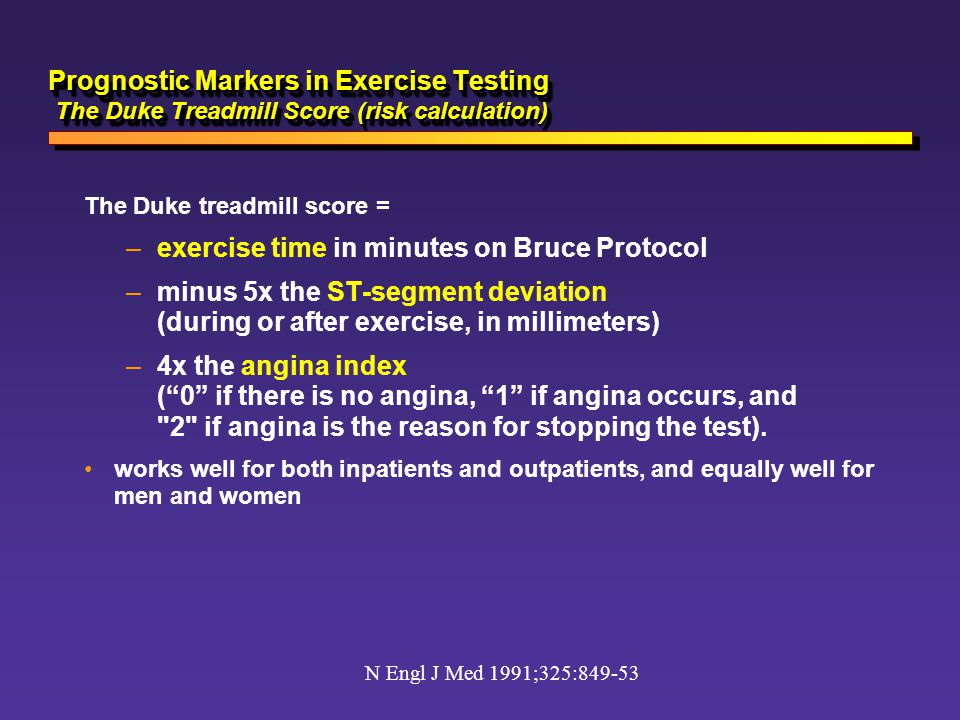 exercise time in minutes on Bruce Protocol