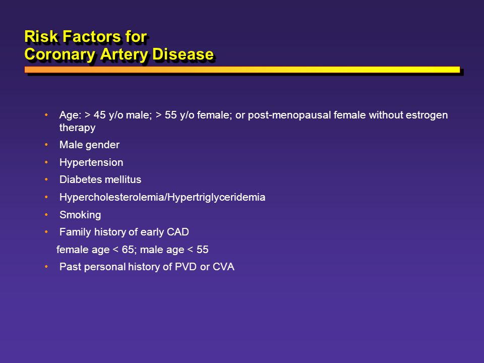 Risk Factors for Coronary Artery Disease