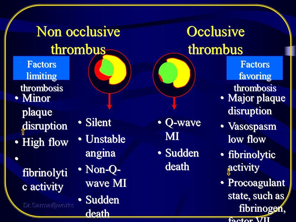 Non occlusive thrombus Occlusive thrombus