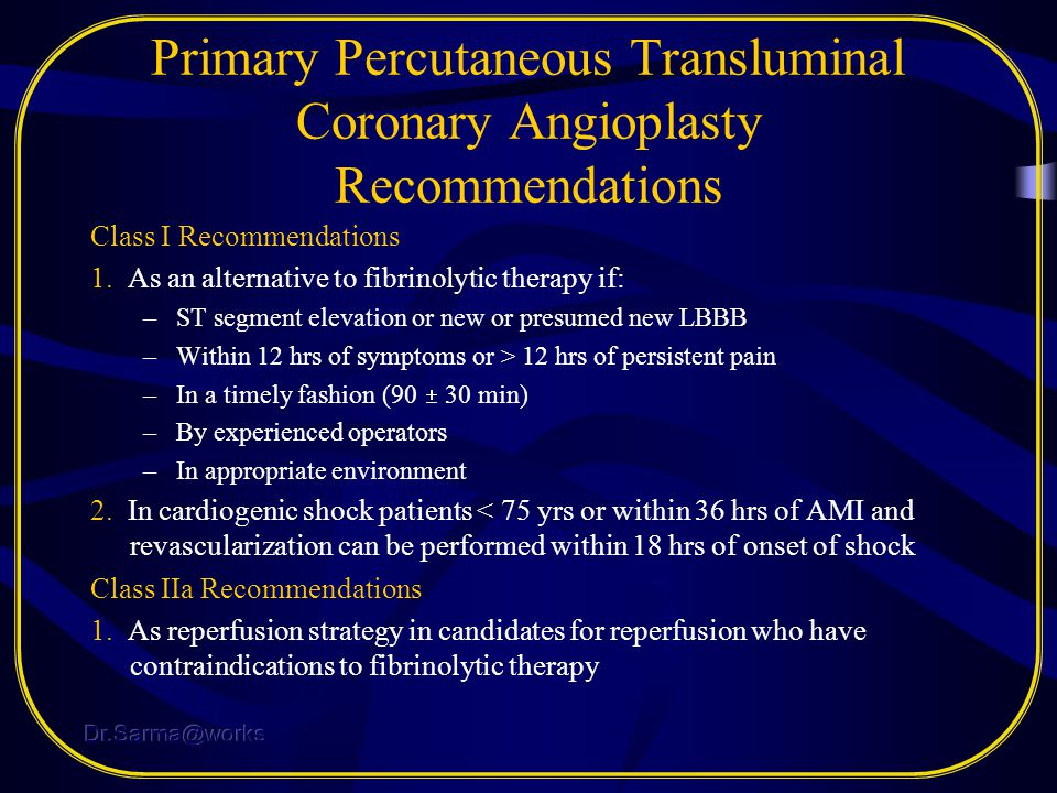 Primary Percutaneous Transluminal Coronary Angioplasty Recommendations