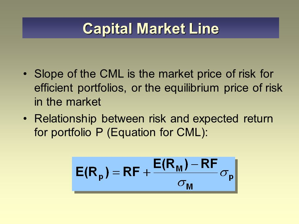 the capital market line is pricing relationship between theory