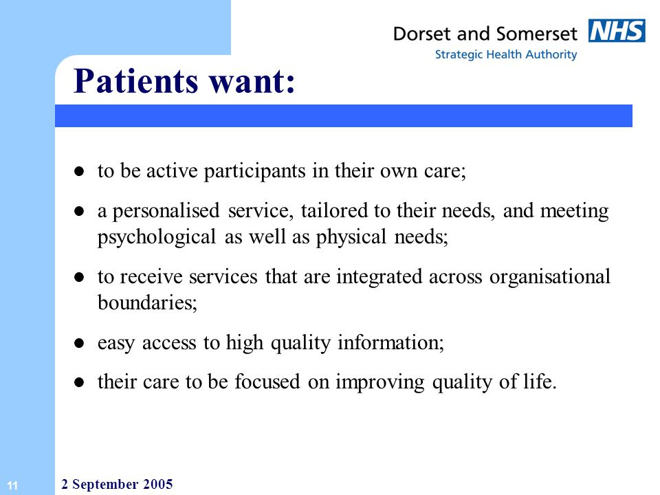 Patients want: to be active participants in their own care;