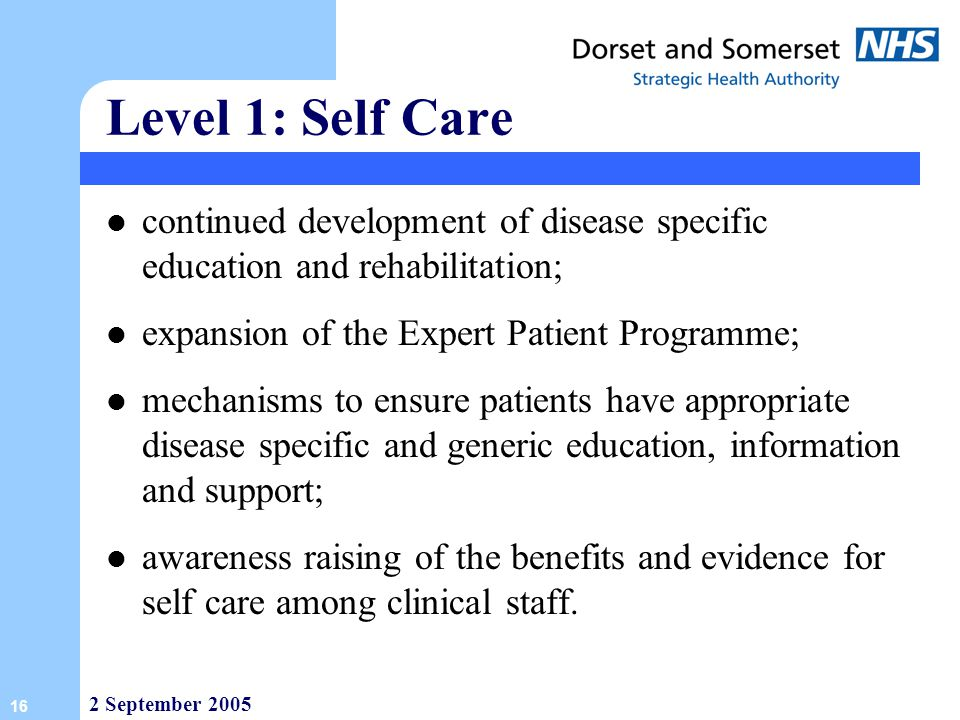 Level 1: Self Care continued development of disease specific education and rehabilitation; expansion of the Expert Patient Programme;