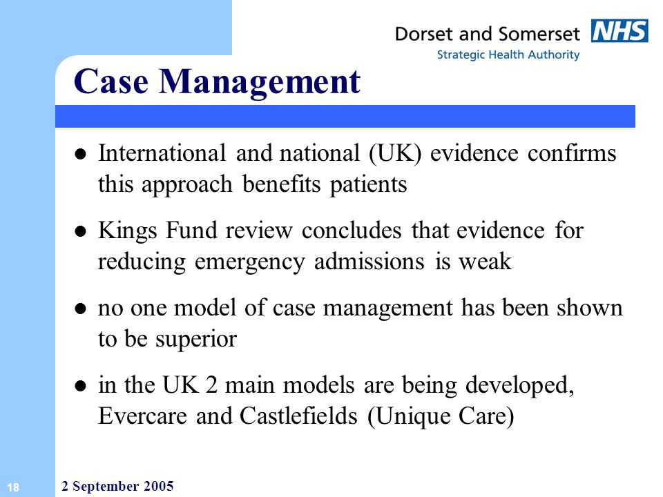 Case Management International and national (UK) evidence confirms this approach benefits patients.