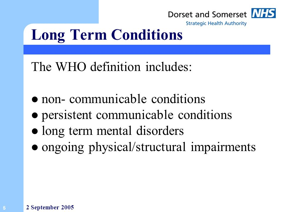 Long Term Conditions The WHO definition includes: