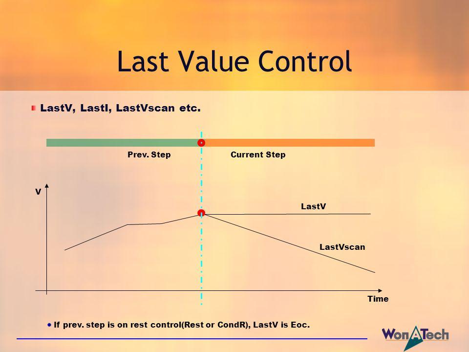 Last Value Control LastV, LastI, LastVscan etc.