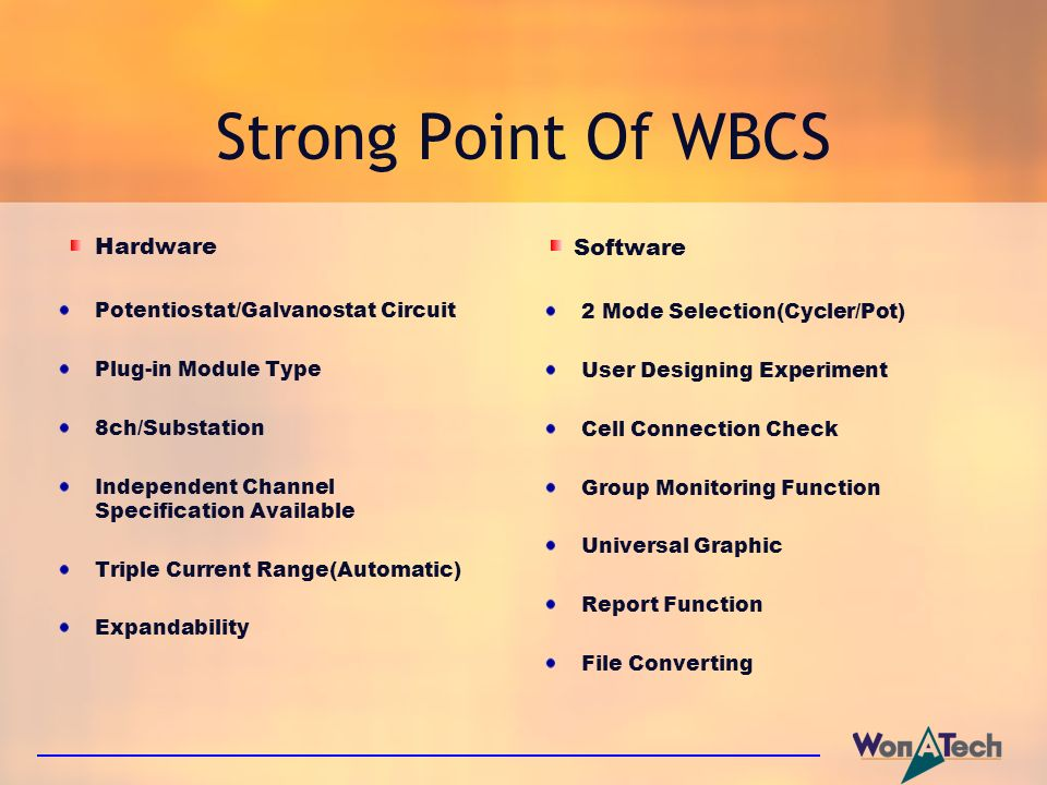 Strong Point Of WBCS Hardware Software