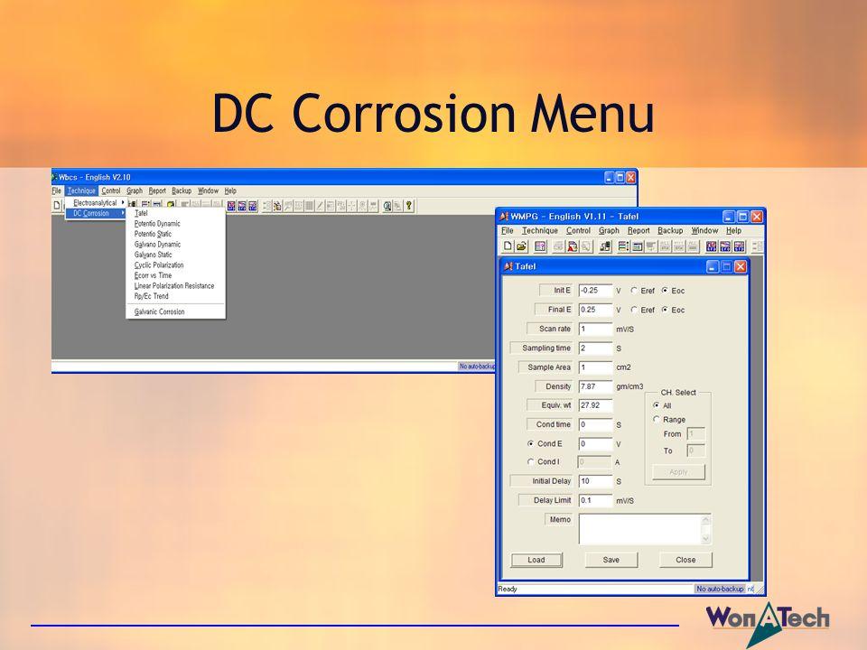 DC Corrosion Menu
