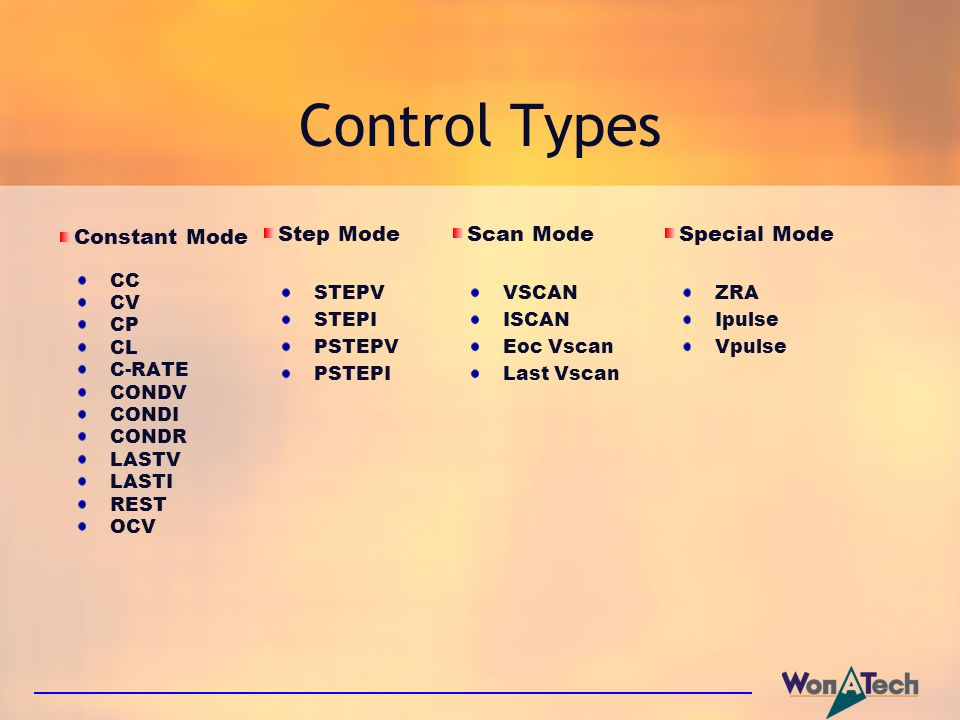 Control Types Step Mode Scan Mode Special Mode Constant Mode STEPV