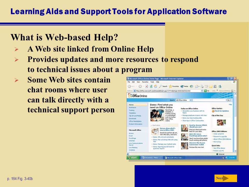 Learning Aids and Support Tools for Application Software