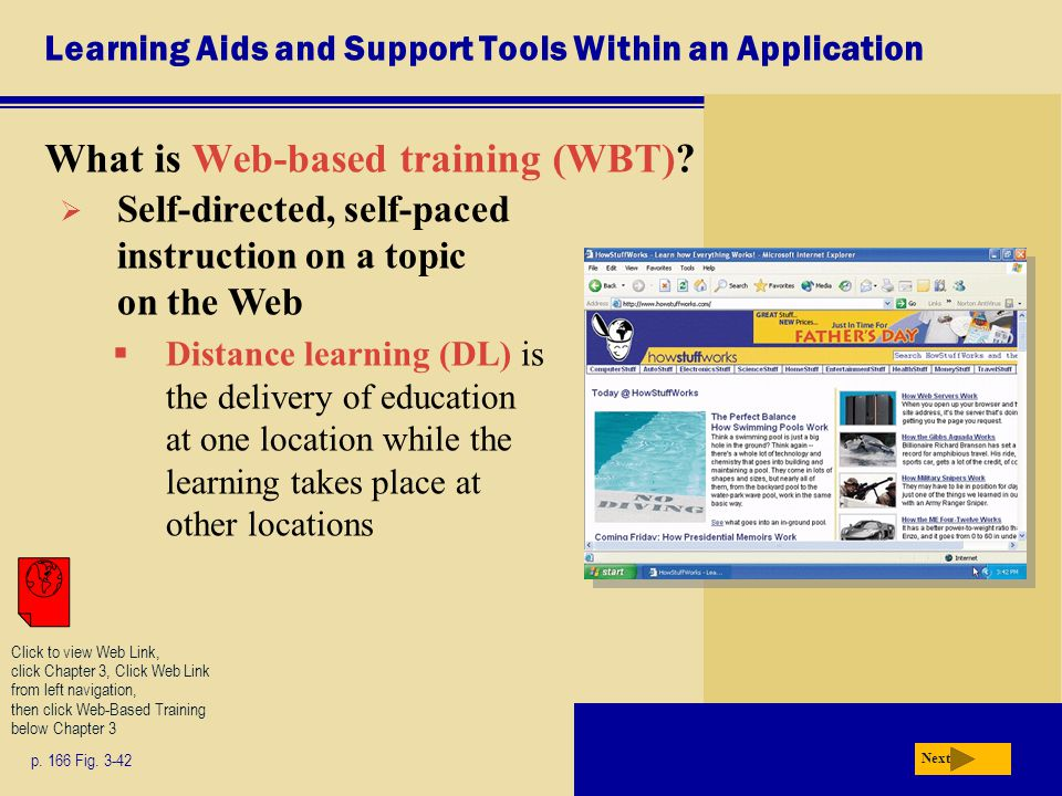 Learning Aids and Support Tools Within an Application