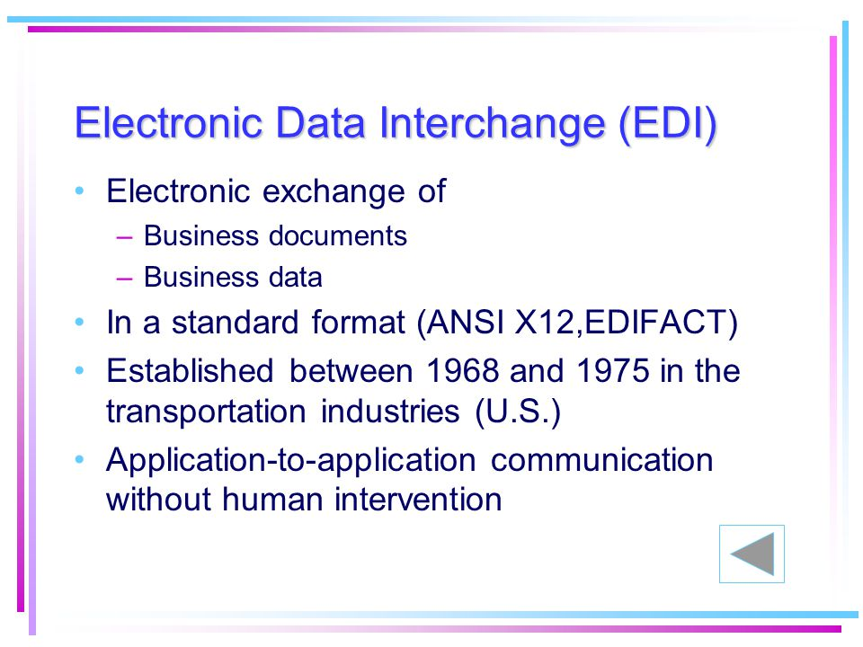 what is the difference between a electronic data interchange and a electronic funds transfer Electronic data interchange, or edi electronic funds transfer (eft) between different financial institutions - direct deposit of paychecks.