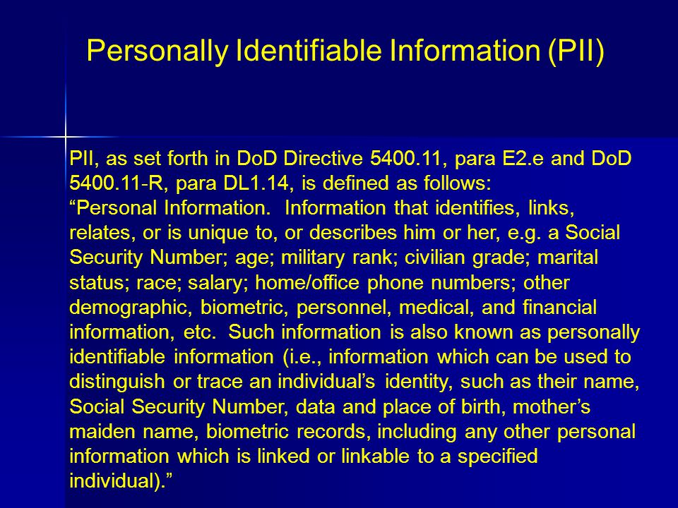 personally identifiable information pii essay Read this essay on personally identifiable information come browse our large digital warehouse of free sample essays get the knowledge you need in order to pass.